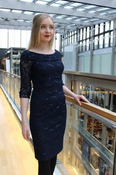 By Kris of Norway. Navy stretch lace dress, mother of the bride or just a party dress Stretch Lace, Mother Of The Bride, Norway, Lace Dress, Party Dress, Navy, Black, Dresses, Fashion