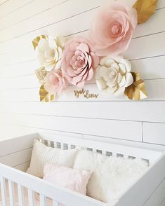 Pink and Gold Nursery  Baby Girl Nursery  Giant Paper Flowers  White Shiplap Accent Wall Shabby Chic Decor  White Crib  Blush Pink Baby Girl's Room