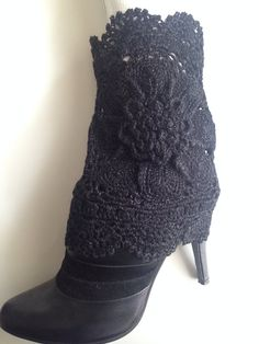 Crochet Shiny Black Boot Cuffs with Flower, Leg Warmers, Spring Fashion Accessories on Etsy, $35.00
