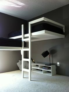 Comfy Minimalist Bedroom Decor Ideas Small Rooms - Page 28 of 60 Bunk Beds For Sale, Bunk Beds With Storage, Cool Bunk Beds, Kids Bunk Beds, Lofted Beds, Bunk Bed Ideas For Small Rooms, Modern Bunk Beds, Modern Loft, Bunk Bed Designs