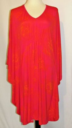 Natori Sz Large Pink Orange Caftan Lounge Robe Smocked Knee Length Silky Stretch #Natori #Robes