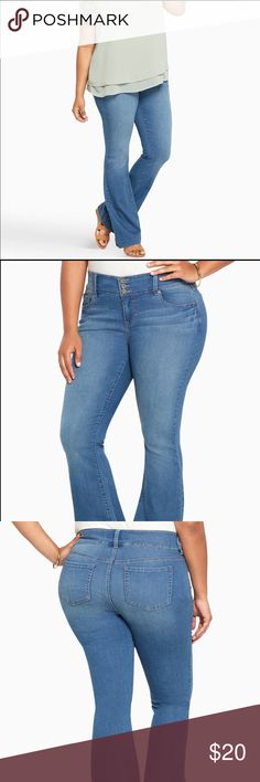 TORRID three button high waisted flare jeans Purchased these torrid jeans from posh and never wore them.  They were too large for me.  In excellent like new condition.  Light wash.  Three button high waist flare jeans.  Size 16R torrid Jeans Flare & Wide Leg