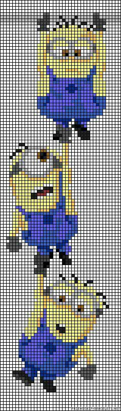 Did the Minions do it to you and your children too? And you are planning a . - Children's birthday ideas Did the Minions do it to you and your children too? Are you planning to have the Minions do it to y Cross Stitching, Cross Stitch Embroidery, Cross Stitch Patterns, Hama Beads Patterns, Beading Patterns, Pixel Art, Minions, Minion Pattern, 8bit Art