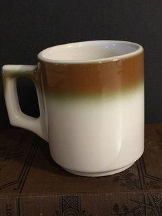 Buffalo China Mug Cup Brown Airbrush Restaurant Diner Ware   Made in USA   Mid Century Mod Dinnerware   D Handle   Mad Men Era   Replacement & Goebel Country Bretagne Mid Century Dinnerware Stoneware Creamer ...