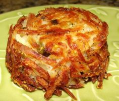 Parmesan Hash Brown Cups | 3½ cups shredded potatoes (rinsed & squeezed dry in a towel), ½ cup grated parmesan, 1 tsp salt,  ½ tsp black pepper, 2 tablespoons olive oil - Preheat oven to 180C. Grease 12 muffin tins. In large bowl, combine potatoes, cheese, salt, and pepper. Toss lightly with a fork. Drizzle on olive oil. Toss again until well combined. Spoon mixture (press firmly with back of spoon) into 12 muffin cups.  Bake for 60-75 minutes in lower third of oven. Let rest for 5 minutes.