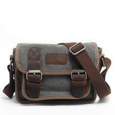 298cc96612 Men Canvas Messenger Bags Crazy Horse Leather Hot Sale Male Small Shoulder  Bag Crossbody Bag For New Fashion Traveling Bags -in Crossbody Bags from  Luggage ...