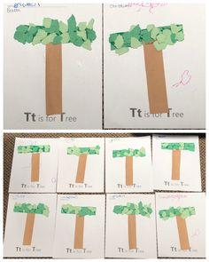 T is for Tree, Alphabet art, preschool letter craft Letter T Activities, Preschool Letter Crafts, Alphabet Letter Crafts, Preschool Art Projects, Preschool Themes, K Crafts, Daycare Crafts, Letter Art, Tree Study
