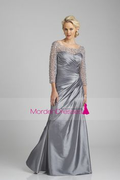 2016 Plus Size Scoop Mother Of The Bride Dresses Long Sleeves Taffeta With Beads And Ruffles US$ 169.99 MDP5SPG34N - mordendress.com