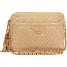 CHANEL VINTAGE Vintage Quilted Leather Shoulder Bag (13.205 BRL) ❤ liked on Polyvore featuring bags, handbags, shoulder bags, chanel, purses, bolsas, beige, chain shoulder bag, chanel purse and handbag purse