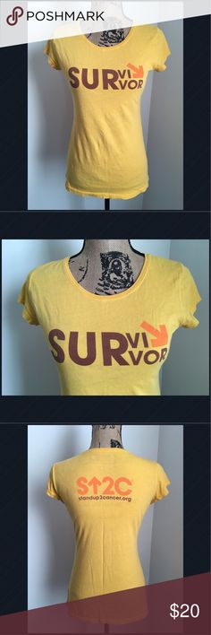Stand Up To Cancer Survivor Tee Medium Yellow Stand Up To Cancer. Stand ⬆️ 2 Cancer. In excellent condition, I am willing to trade for a size large! Stand Up To Cancer Tops Tees - Short Sleeve