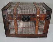 Tartan Plaid Mini Trunk - Vintage Plaid Flat Top Steamer Trunk - Wood Chest - Jewelry Box Make-Up Box Dressing Room