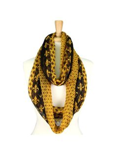 Black and Gold Fleur De Lis Infinity Scarf
