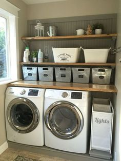 Laundry room makeover. Wood counters, Walmart tin totes, pull out laundry bins. #laundryroommakeover: