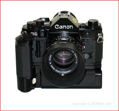 Canon A1 with Motor Drive. I had one of these for quite awhile, and sold it when I went digital. Should have kept it, I loved that camera.