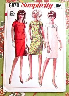 Simplicity 6870  Vintage 1960s Womens Dress Pattern by Fragolina, $8.00