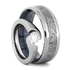 Stunning Diamond Meteorite Wedding Ring Set Engagement Ring With Wedding Band
