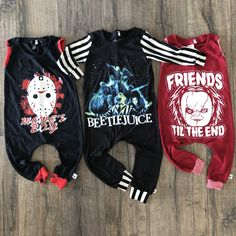 SHOP SMALL Friends til the End Chucky Halloween Romper/Dress/Hoodie The Wild Bambino (I need that beetlejuice onsie! Toddler Fashion, Toddler Outfits, Baby Boy Outfits, Kids Outfits, Boy Fashion, Fashion Clothes, Cool Baby Clothes, Cool Baby Stuff, Gothic Baby Clothes
