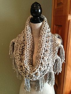 Free Pattern: Gray 3-Strand Cowl with Fringe by Louis Chicquette