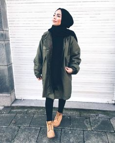 Military hijab style with timberland boots- hijabi traveling style – just trendy girls Street Hijab Fashion, Muslim Fashion, Modest Fashion, Fashion Boots, Fashion Fashion, Trendy Fashion, Fashion Outfits, Casual Hijab Outfit, Hijab Chic