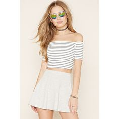 Forever 21 Women's  Mini Skater Skirt ($13) ❤ liked on Polyvore featuring skirts, mini skirts, elastic waist skirt, white flared skirt, full length skirt, full length circle skirt and forever 21 skirts