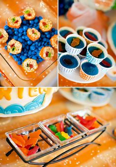 Party - Koi Fish Theme Party - Jello shots with fish shaped fruit snack in middle
