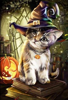 Halloween Cat Square Diamond Painting