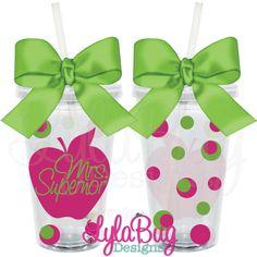 Teacher Polka Dot Apple Tumbler: LylaBug Designs Teacher Appreciation Gift Teacher Holiday Gift