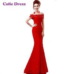 Encontrar Más Vestidos de baile Información acerca de De Encaje rojo Sirena…