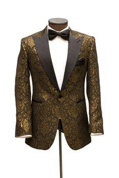 The Manhattan Black & Gold Brocade Dinner Jacket - Cabaret Vintage