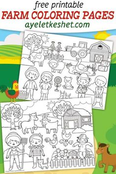 Free printable farm coloring pages for kids. Cute and fun coloring pages with farm animals, farmers, barns and crops. #Ayelet_Keshet #coloring #coloringpages #kidscoloring #freecoloringpages #freeprintables #printables #farm #coloringpagesforkids Free Kids Coloring Pages, Farm Animal Coloring Pages, Summer Coloring Pages, Coloring Sheets For Kids, Free Printable Coloring Pages, Free Coloring, Farm Animals For Kids, Farm Animal Crafts, Kids Art Class