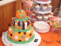 Pumpkin - themed Birthday cake for my nephew's first birthday.