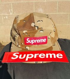 cbe666ece21 Supreme Desert Camo Box Logo Side Zip 5 Panel Camp Hat w Red Box Logo  sticker