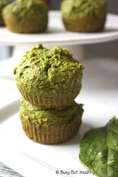 Spinach Muffins - secretly healthy muffins. Packed with spinach but you don't even taste it! Gluten-free, dairy-free. A perfect light and moist muffin.
