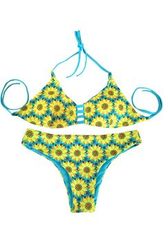 Sunflower Print Halter Blue Reversible Bikini Set