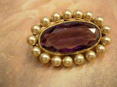 Huge Antique Edwardian amethyst &  Pearl brooch by vintagesparkles, $95.00