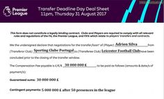 Adrien Silva's transfer sheet.