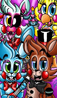 #fnafworld#Toychica#Mangle#Toybonnie#Toyfreddy#cupcake#FNAF2 I redraw this old drawing =3