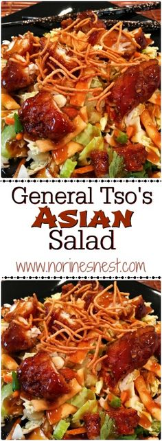 General Tso's Asian Salad is so yummy and super easy to make thanks to packaged salad mix and service deli chicken! It's SO good!