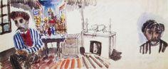 """Utrillo dans son atelier Pages extraites du journal tenu par Foujita pour Youki, dit """"le journal de Youki"""", comportant 66 pages 38 x16 cm  Dessin à l'encre et aquarelle sur papier traditionnel japonais Collection particulière"""