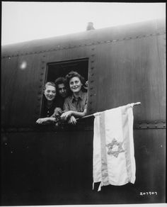 """""""These Jewish children are on their way to Palestine after having been released from the Buchenwald Concentration Camp. The girl on the left is from Poland, the boy in the center from Latvia, and the girl on right from Hungary."""", 6/5/1945 From the series: Photographs of American Military Activities, ca. 1918 - ca. 1981"""