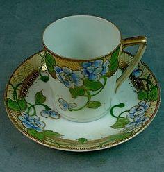 Antique Japanese Nippon Porcelain Demitasse Cup Saucer – Cherry ...