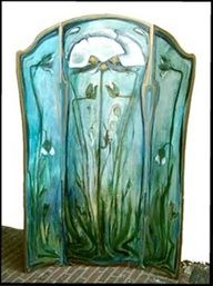 Art Nouveau folding screen by Dutch artist Margreet Buziau.
