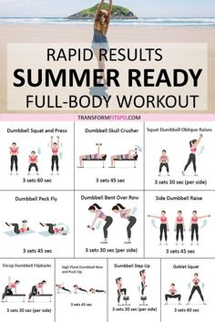 ☀️ Get Your Summer Bod Fast! Rapid Results You Won't Believe! How to get a Summer body? This full body workout gave me a Summer body in rapid time. It is an inspirational and motivational workout which you' Fitness Workouts, 7 Workout, Dumbell Full Body Workout, Workout Challenge, Bikini Body Workout Plan, Total Body Toning, Full Body Workout At Home, At Home Workouts For Women Full Body, Cardio Workouts