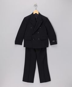Take a look at this Navy Notched Collar Two-Piece Suit Set - Boys on zulily today!