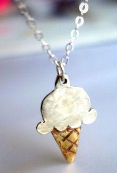 Ice Cream Cone Necklace - because i LOVE icecream
