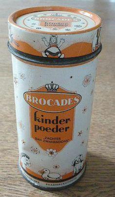 Brocades kinderpoeder, zachter dan zwanendons - metalen strooibus