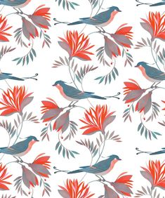 A large motif wallpaper design featuring birds nestling flowers and delicate leaves. A FREE flowing pattern which captures the fresh movement of nature. Bird Wallpaper, Print Wallpaper, Bird Illustration, Pattern Illustration, Illustrations, Bird Patterns, Print Patterns, Boutique Wallpaper, Art Nouveau