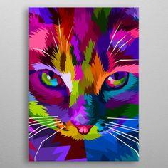 cat face close up Pop Art Poster Print Arte Pop, Pop Art Face, Tableau Pop Art, Lion Painting, Pop Art Posters, Colorful Animals, Cat Colors, Animal Paintings, Colorful Paintings