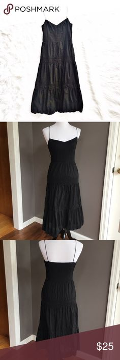 """Loft tiered cotton midi dress Lightweight black cotton tiered midi dress, size 0 from Loft. Pleating and lace details throughout, spaghetti straps, fully lined, concealed zipper on the side. Excellent condition. Flat measurements are bust 16"""", waist 14"""", hips free, length 46"""". LOFT Dresses Midi"""