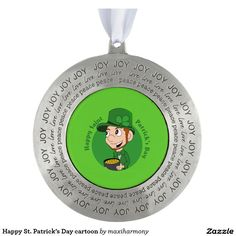 Happy St. Patrick's Day cartoon Round Pewter Christmas Ornament